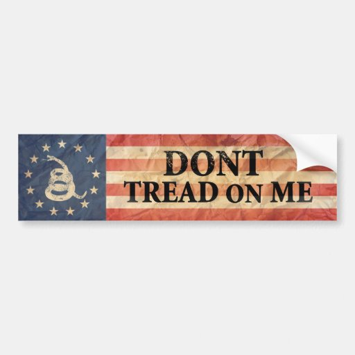 Gadsden and US 1776 Flag Bumper Sticker