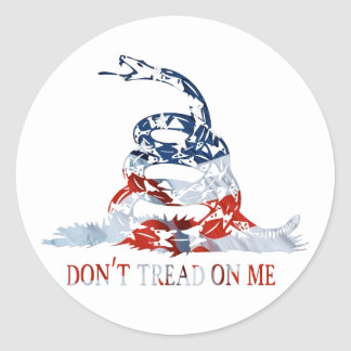 Gadsden - Don't Tread on Me Red, White and Blue Round Sticker