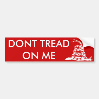 Gadsden_flag 11in Bumper2 White on Red Bumper Sticker
