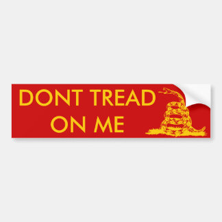 Gadsden_flag 11in Bumper2 Yellow on Red Bumper Sticker