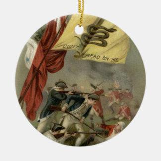 Gadsden Flag Revolutionary War Bunker Hill Round Ceramic Decoration