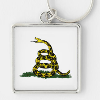 Gadsden Flag Snake Silver-Colored Square Key Ring