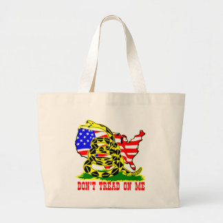 Gadsden Snake Don't Tread On Me w/ American Flag Large Tote Bag