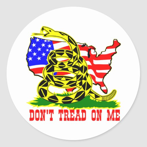 Gadsden Snake Don't Tread On Me w/ American Flag Stickers
