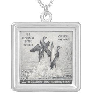 Gadwall Ducks Postage Stamp Necklace