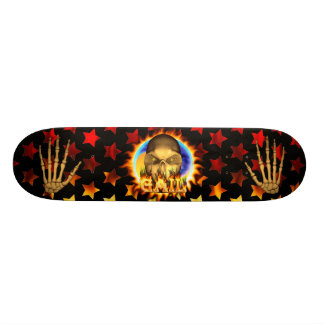 Gail skull real fire and flames skateboard design