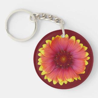 Gaillardia 1 Double-Sided round acrylic key ring