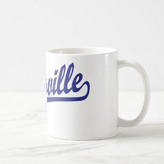 Gainesville script logo in blue coffee mug