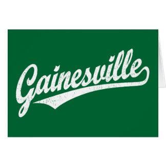 Gainesville script logo in white greeting card
