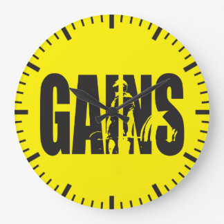 "GAINS - ""Body building"" Motivational Large Clock"