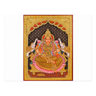 GAJA LAKSHMI INTRICATE TANJORE PAINTING {SOUTH IND POSTCARD