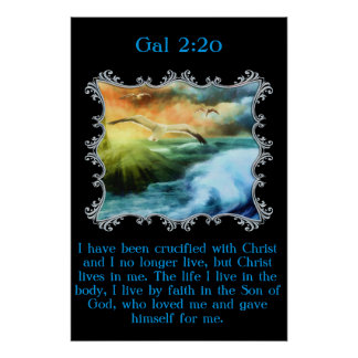 Gal 2:20 With seagulls flying over the open sea Poster