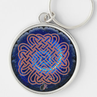 Galactic Celtic Love Knot Silver-Colored Round Key Ring