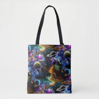 Galactic Nebula and Planets Tote Bag