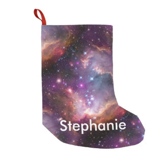 Galactic Outer Space Purple Nebulae Small Christmas Stocking