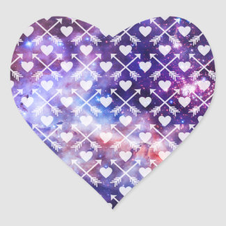 Galactic Tribal Hearts and Arrows Heart Sticker