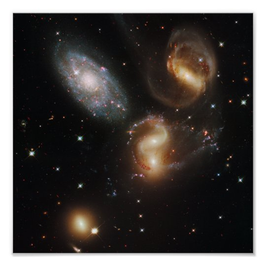 Galactic wreckage in Stephan's Quintet Poster