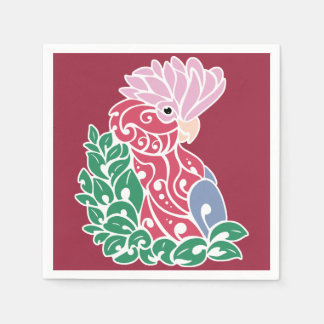 Galah cockatoo tribal tattoo rose-breasted parrot disposable napkins