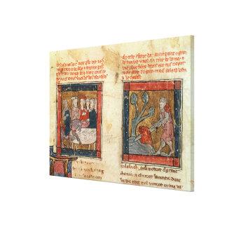Galahad comes to Arthur Canvas Print