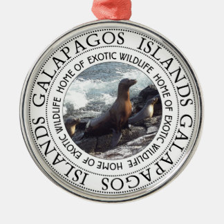 GALAPAGOS SEALS ROUND CHRISTMAS ORNAMENT