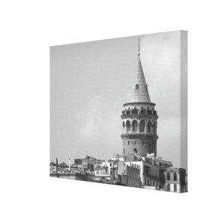 Galata Tower in Istanbul, Turkey. Black and white. Canvas Print