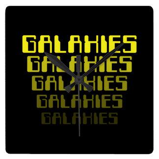 GALAXIES GALAXIES GALAXIES GALAXIES GALAXIES SQUARE WALL CLOCK