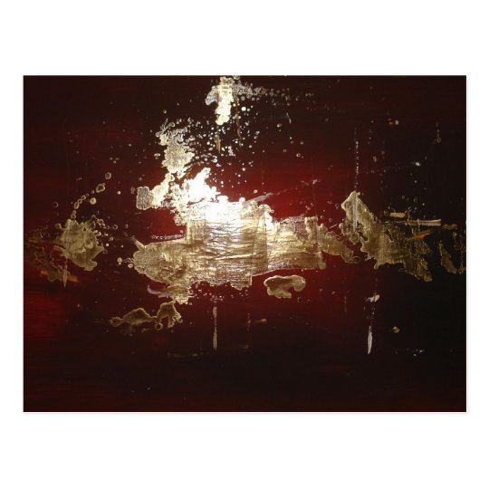 Galaxy - Abstract Expressionist Red Brown Gold Postcard