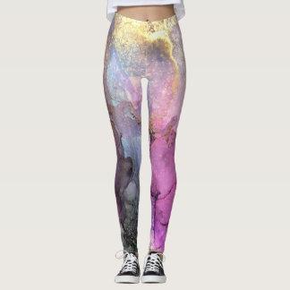 Galaxy - Abstract Ink Art by Karen Ruane Leggings