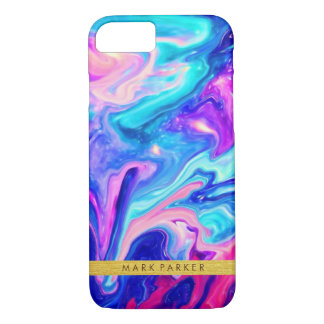 Galaxy Abstract Watercolor with Gold Foil Monogram iPhone 7 Case