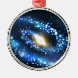 Galaxy and Stars Outer Space Background Silver-Colored Round Decoration