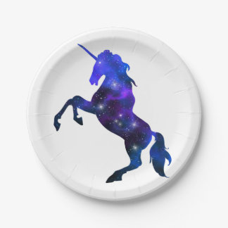 Galaxy  blue beautiful unicorn sparkly image paper plate