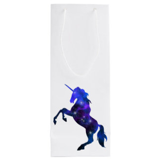 Galaxy  blue beautiful unicorn sparkly image wine gift bag