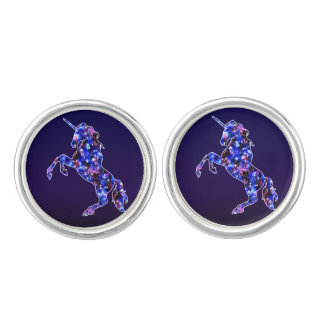 Galaxy blue beautiful unicorn starry sky image cufflinks