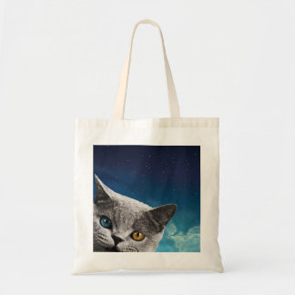 galaxy cat farrowed tote bags