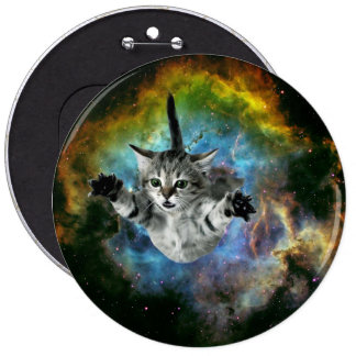 Galaxy Cat Universe Kitten Launch 6 Cm Round Badge