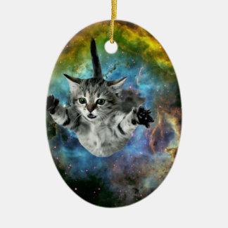 Galaxy Cat Universe Kitten Launch Christmas Ornament