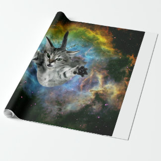 Galaxy Cat Universe Kitten Launch Wrapping Paper