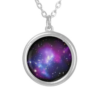 Galaxy Cluster MACS J0717 Round Pendant Necklace