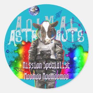 Galaxy Cow Astronaut Round Sticker