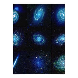 Galaxy Gallery - Nine Spectacular Galaxies 14 Cm X 19 Cm Invitation Card
