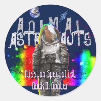 Galaxy Goat Astronaut in Space Round Sticker