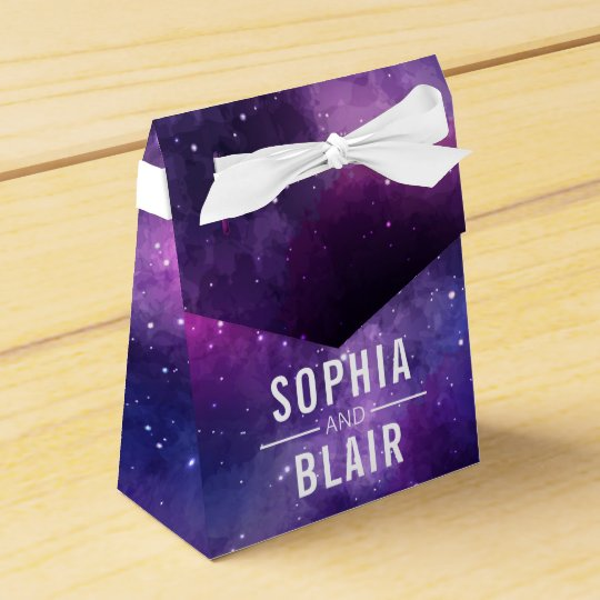 Galaxy Hearts Constellation Wedding Personalised Favour Box