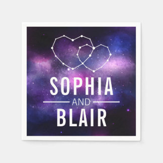 Galaxy Hearts Constellation Wedding Personalized Paper Napkin