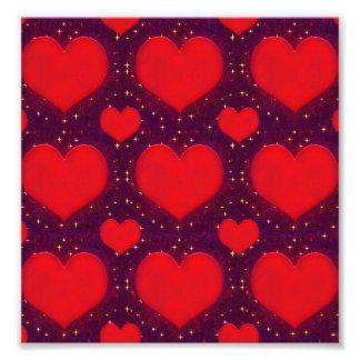 Galaxy Hearts Grunge Style Pattern Photographic Print