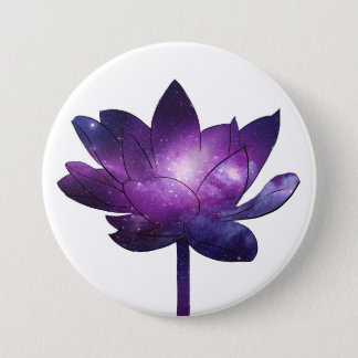 Galaxy Lotus Flower - white 7.5 Cm Round Badge