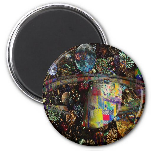 Galaxy of Fireworks Collage Planets  2859b Fridge Magnets