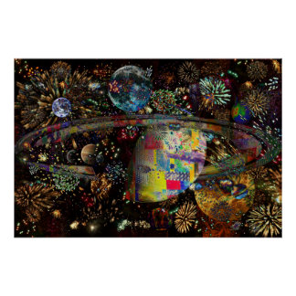 Galaxy of Fireworks Collage Planets  2859b Poster