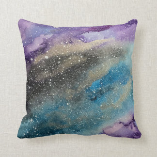 Galaxy Outer Space Watercolor Pillow