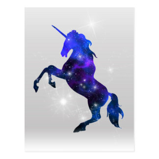 Galaxy pink beautiful unicorn sparkly image postcard