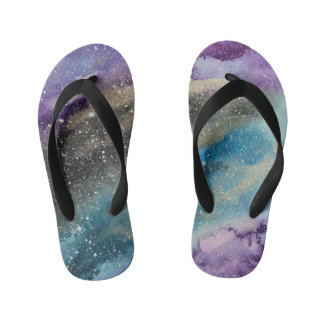 Galaxy Print Outer Space Watercolor Kids Sandals